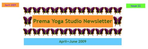 April Newsletter 2009